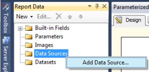 8 Parameterized Report - Create Data Source a